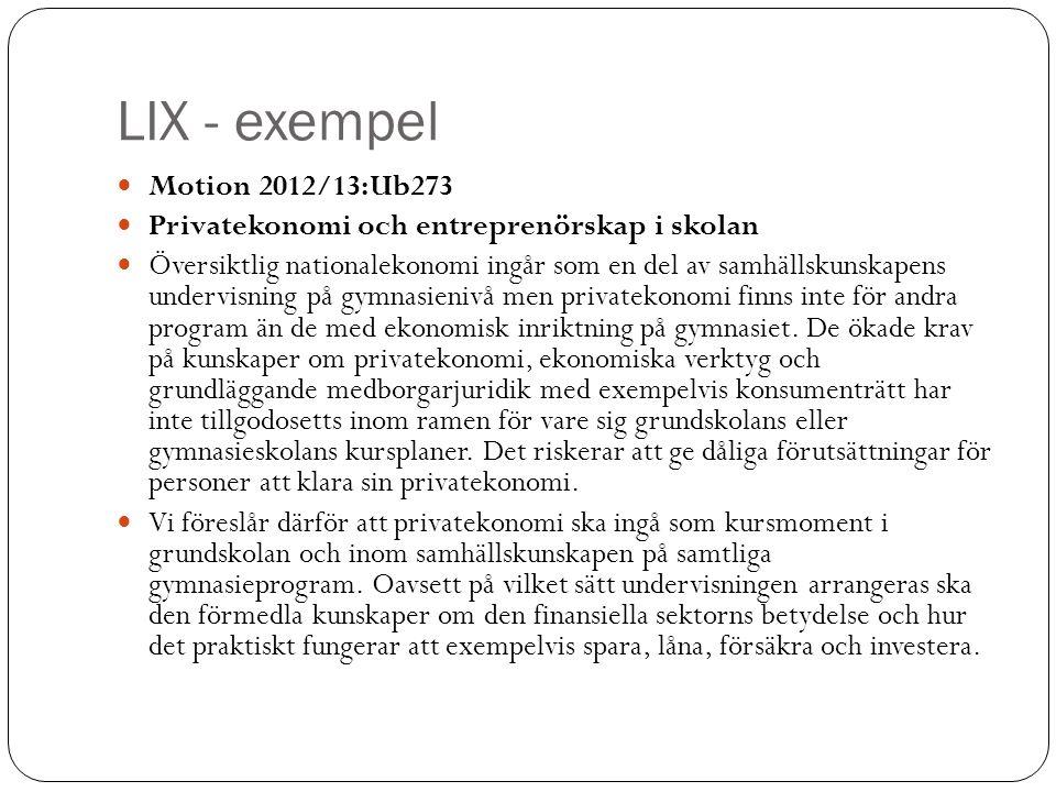 LIX - exempel Motion 2012/13:Ub273