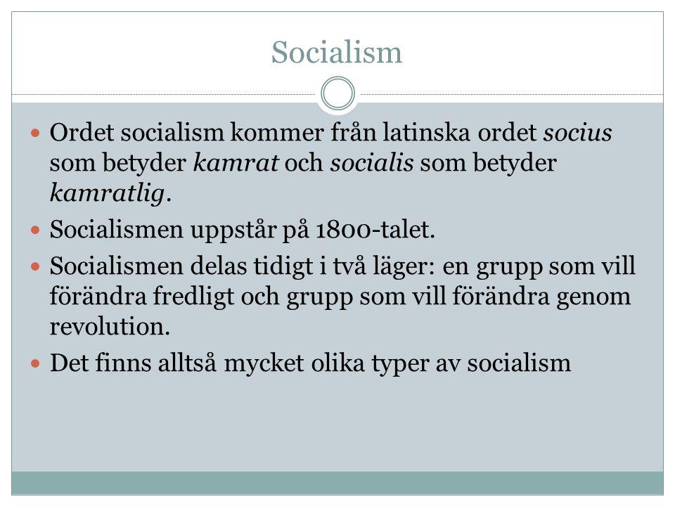 Socialism Ordet socialism kommer från latinska ordet socius som betyder kamrat och socialis som betyder kamratlig.