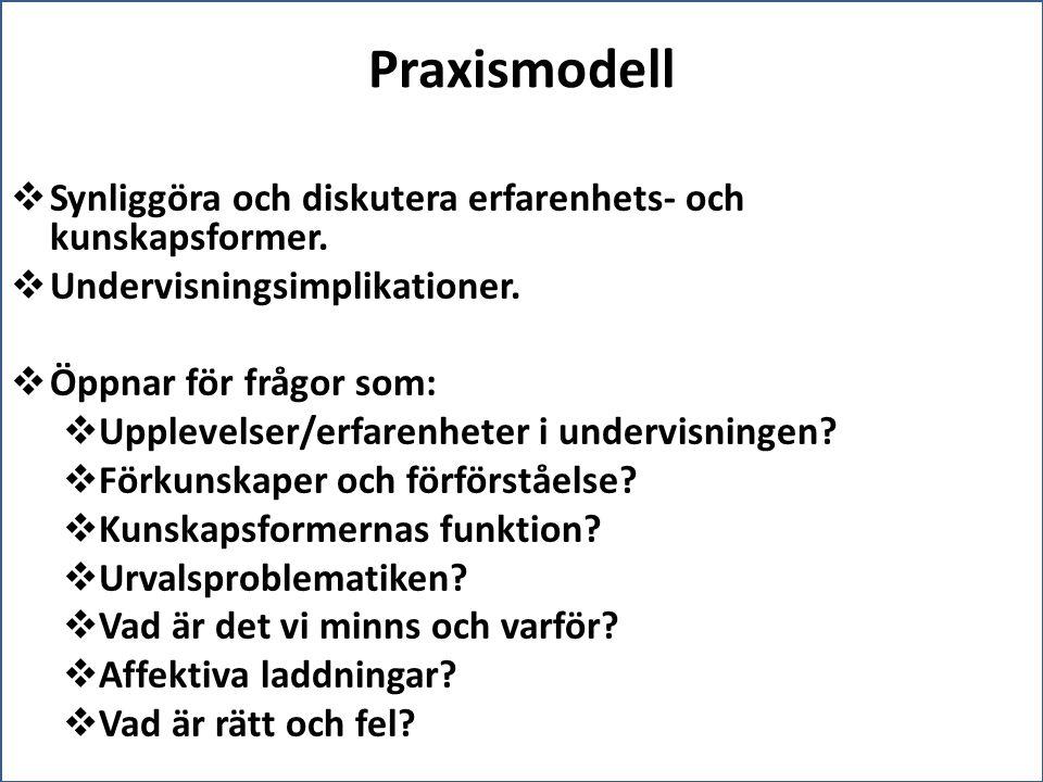 Praxismodell Synliggöra och diskutera erfarenhets- och kunskapsformer.