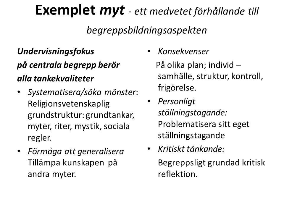 Exemplet myt - ett medvetet förhållande till begreppsbildningsaspekten