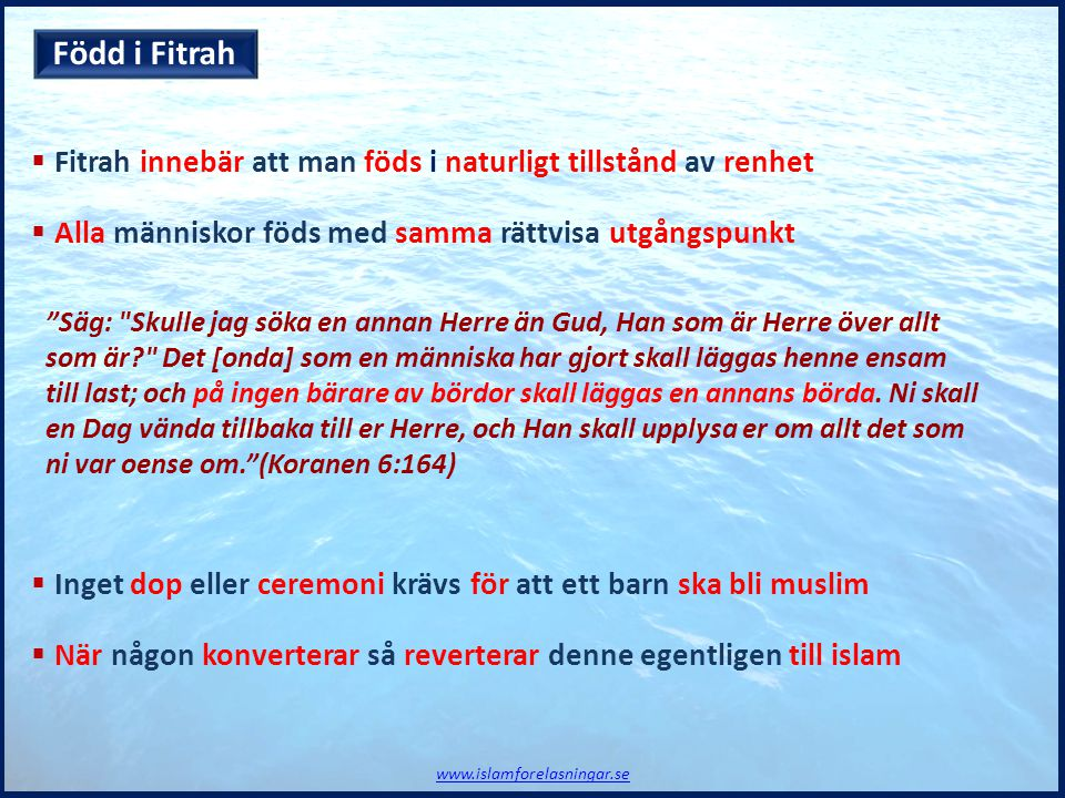 Född i Fitrah Fitrah innebär att man föds i naturligt tillstånd av renhet. Alla människor föds med samma rättvisa utgångspunkt.