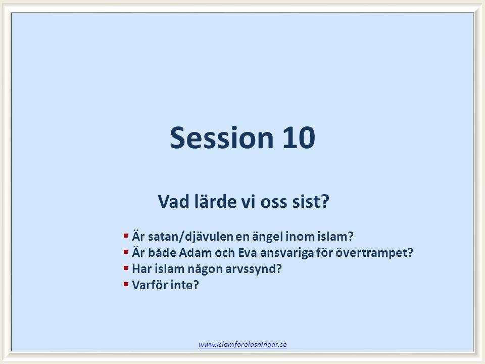 Session 10 Vad lärde vi oss sist