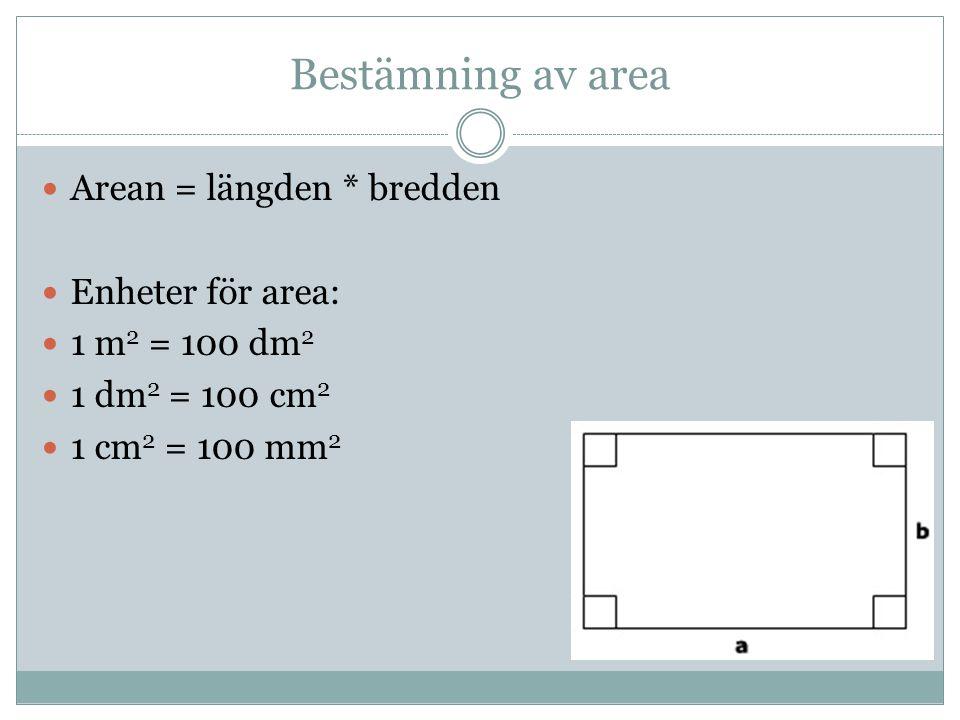 Bestämning av area Arean = längden * bredden Enheter för area:
