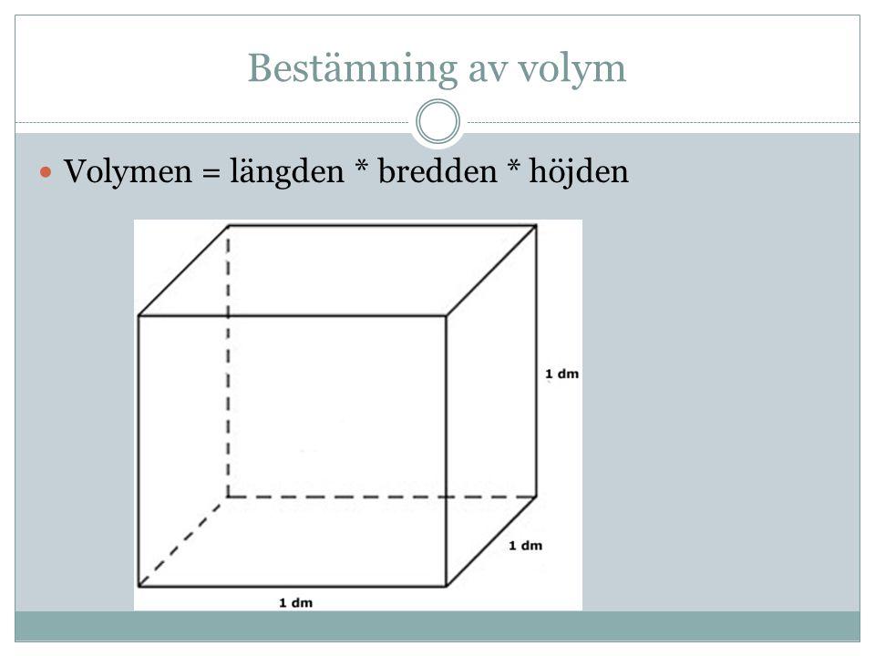 Bestämning av volym Volymen = längden * bredden * höjden