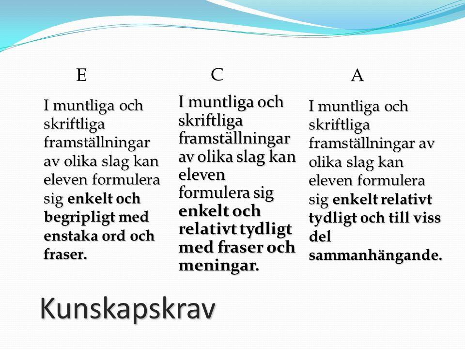 E C. A. I muntliga och skriftliga framställningar av olika slag kan eleven formulera sig enkelt och begripligt med enstaka ord och fraser.