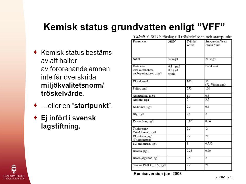 Kemisk status grundvatten enligt VFF