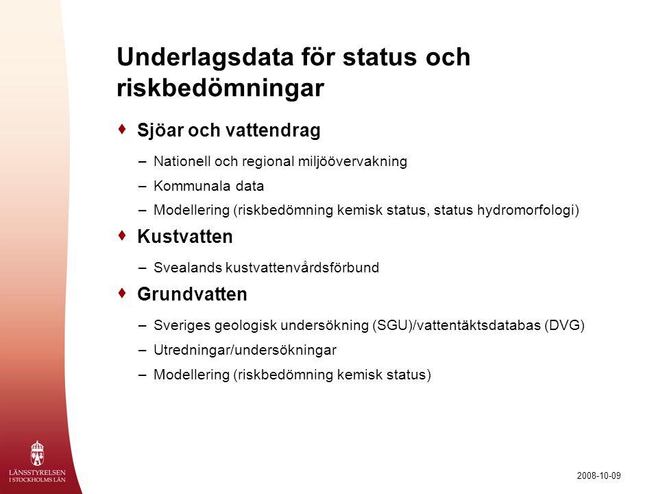 Underlagsdata för status och riskbedömningar