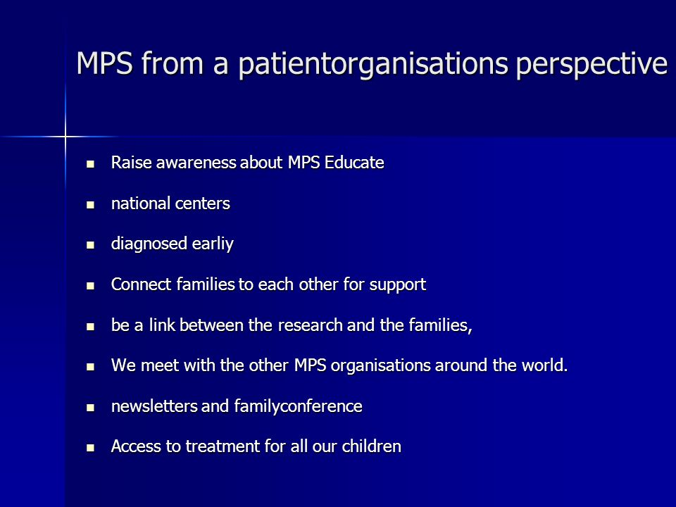 MPS from a patientorganisations perspective