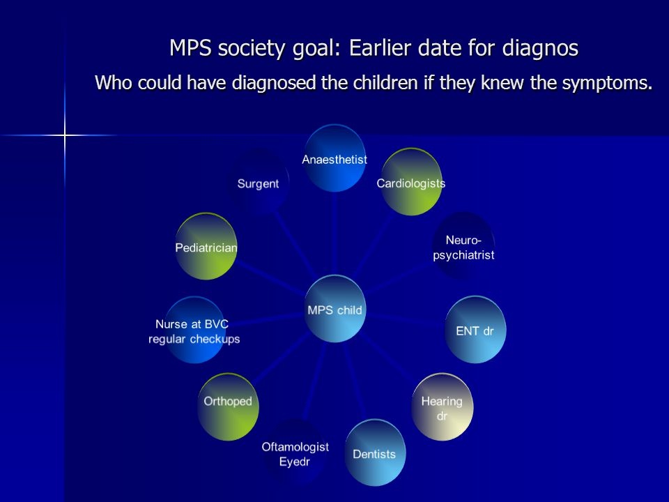 MPS society goal: Earlier date for diagnos Who could have diagnosed the children if they knew the symptoms.