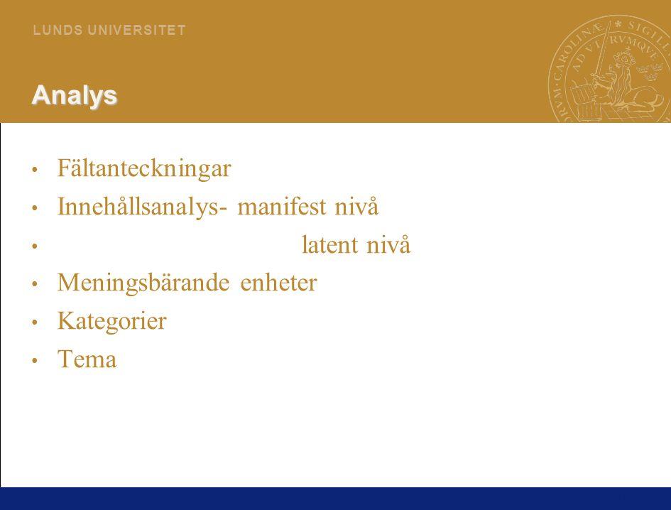 Analys Fältanteckningar. Innehållsanalys- manifest nivå. latent nivå. Meningsbärande enheter. Kategorier.
