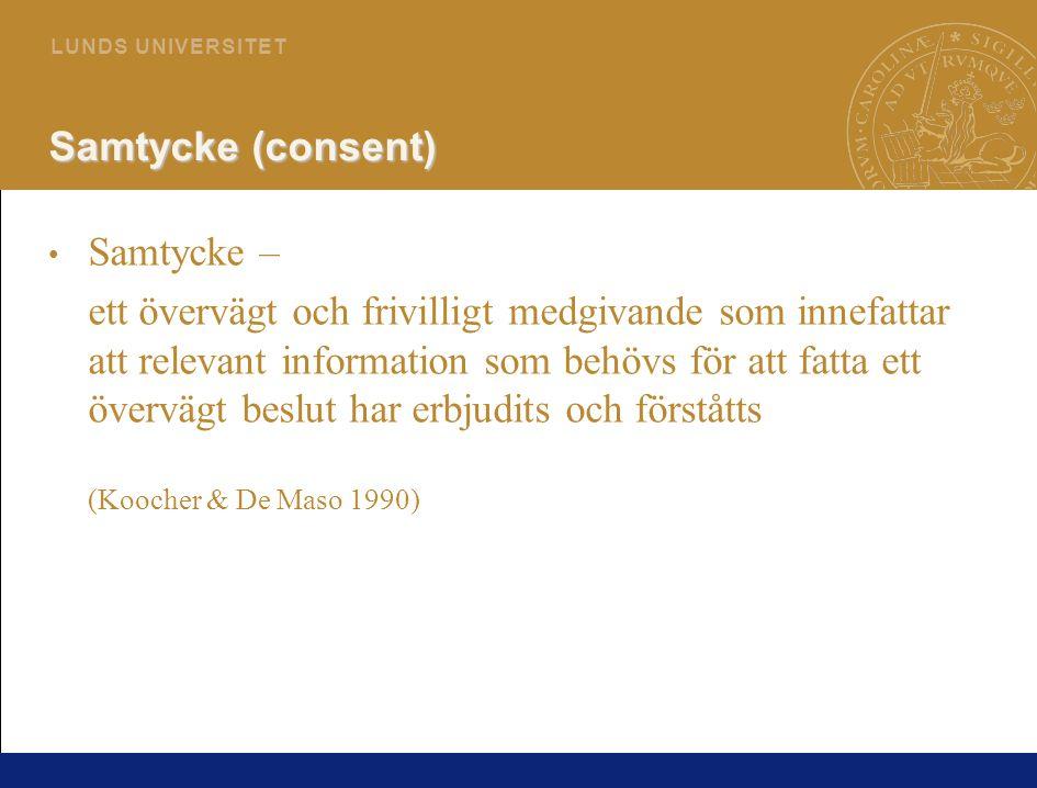 Samtycke (consent) Samtycke –