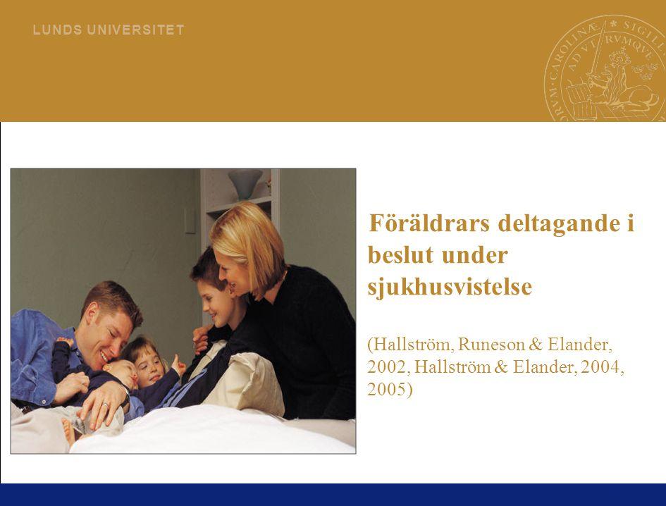 Föräldrars deltagande i beslut under sjukhusvistelse (Hallström, Runeson & Elander, 2002, Hallström & Elander, 2004, 2005)