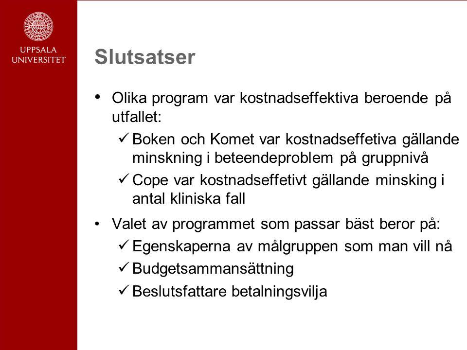 Slutsatser Olika program var kostnadseffektiva beroende på utfallet: