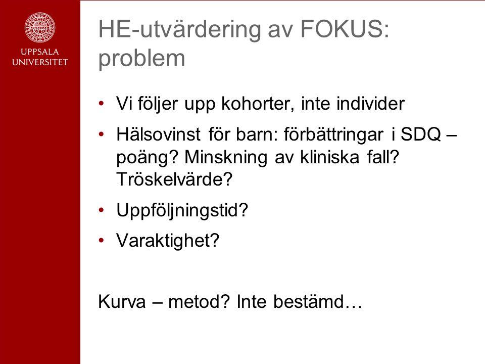 HE-utvärdering av FOKUS: problem