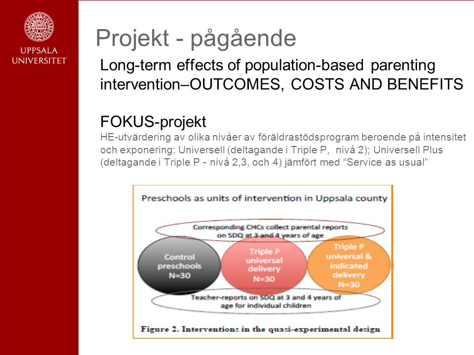 Projekt - pågående Long-term effects of population-based parenting intervention–OUTCOMES, COSTS AND BENEFITS FOKUS-projekt.