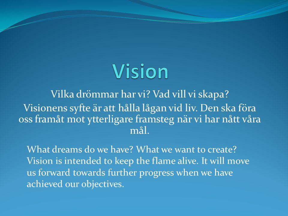 Vilka drömmar har vi Vad vill vi skapa