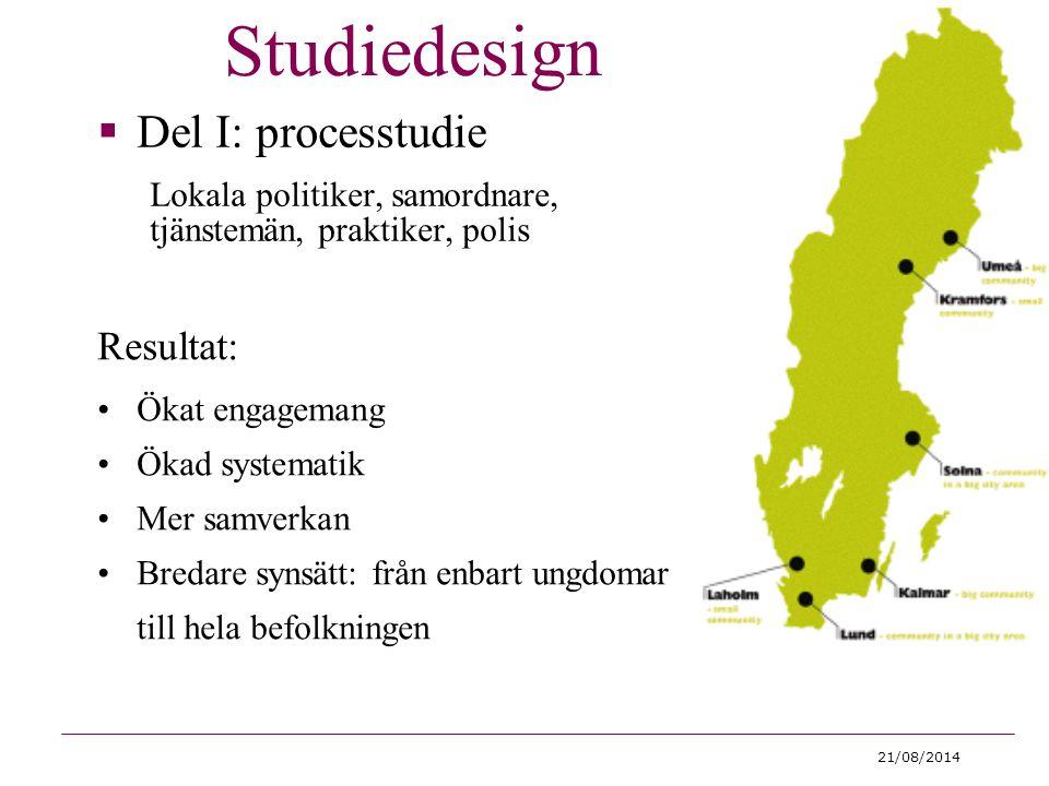 Studiedesign Del I: processtudie Resultat: