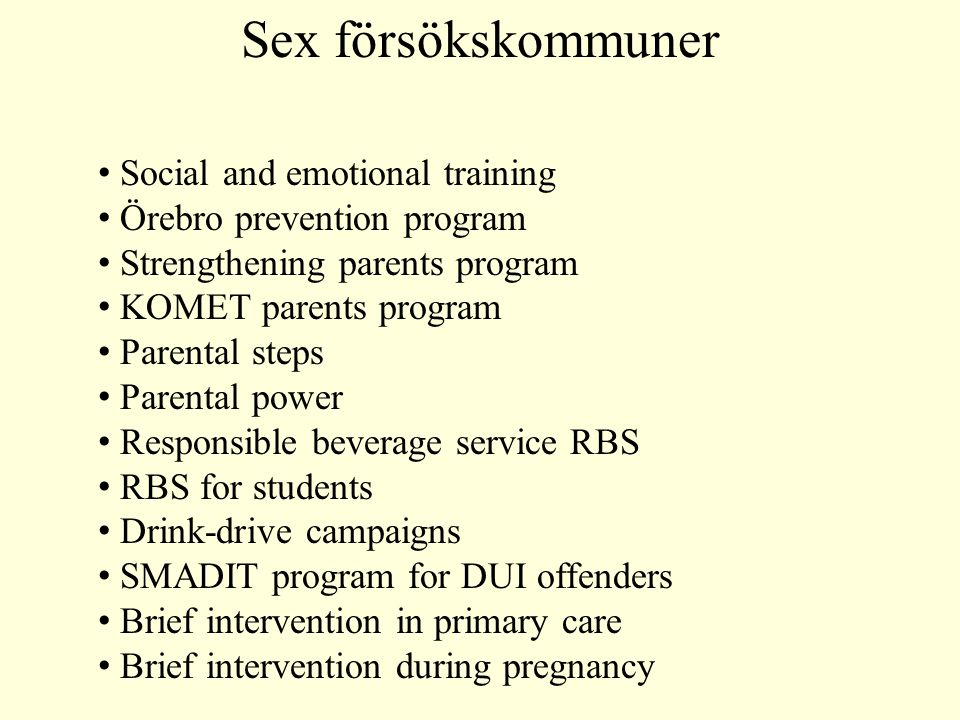 Sex försökskommuner Social and emotional training