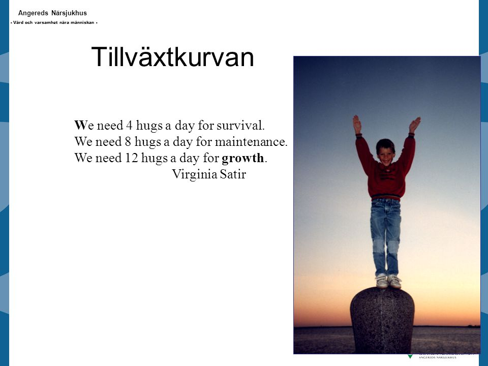 Tillväxtkurvan We need 4 hugs a day for survival.