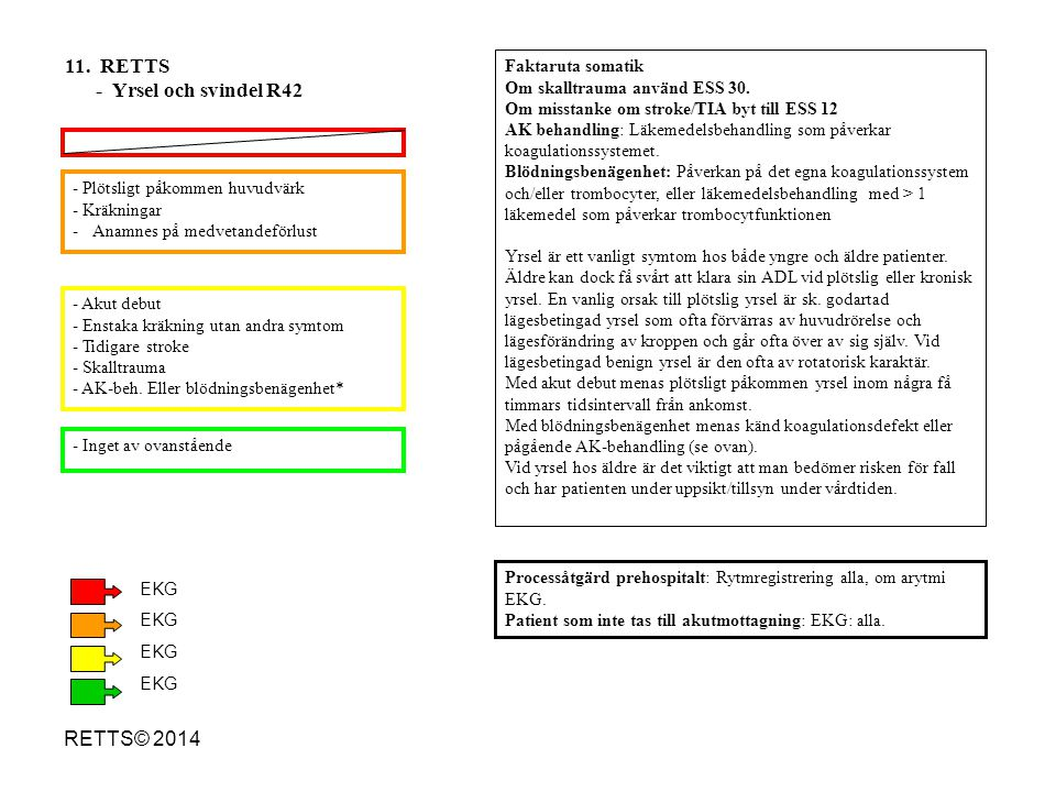11. RETTS - Yrsel och svindel R42 RETTS© 2014 Faktaruta somatik