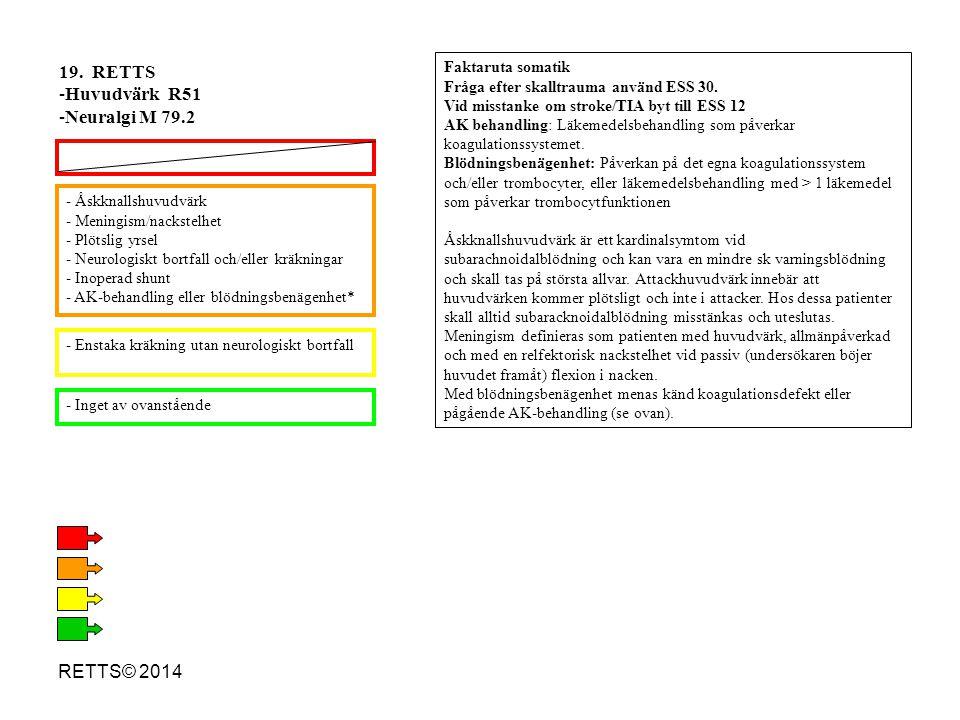 19. RETTS Huvudvärk R51 Neuralgi M 79.2 RETTS© 2014 Faktaruta somatik