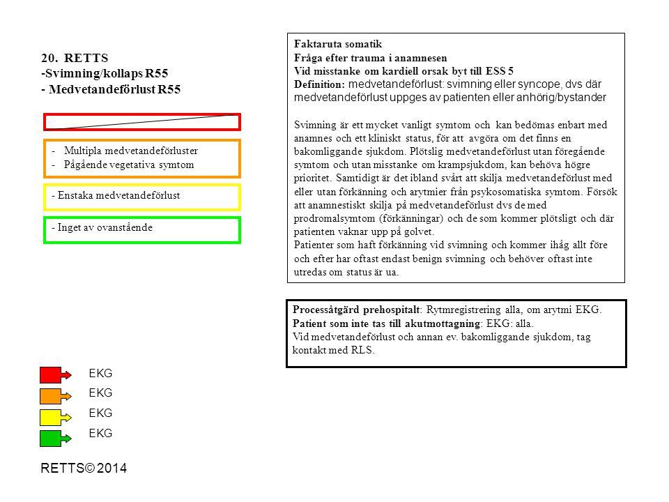 20. RETTS Svimning/kollaps R55 Medvetandeförlust R55 RETTS© 2014