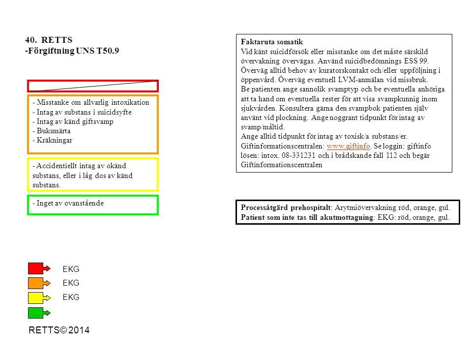 40. RETTS Förgiftning UNS T50.9 RETTS© 2014 Faktaruta somatik