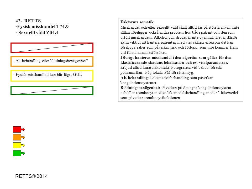 42. RETTS Fysisk misshandel T74.9 Sexuellt våld Z04.4 RETTS© 2014