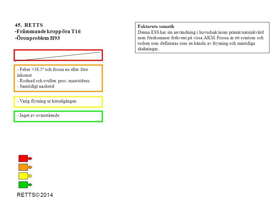 45. RETTS Främmande kropp öra T16 Öronproblem H93 RETTS© 2014