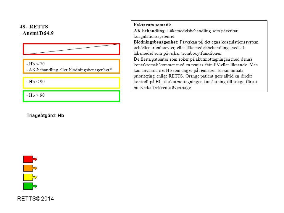48. RETTS - Anemi D64.9 RETTS© 2014 Faktaruta somatik