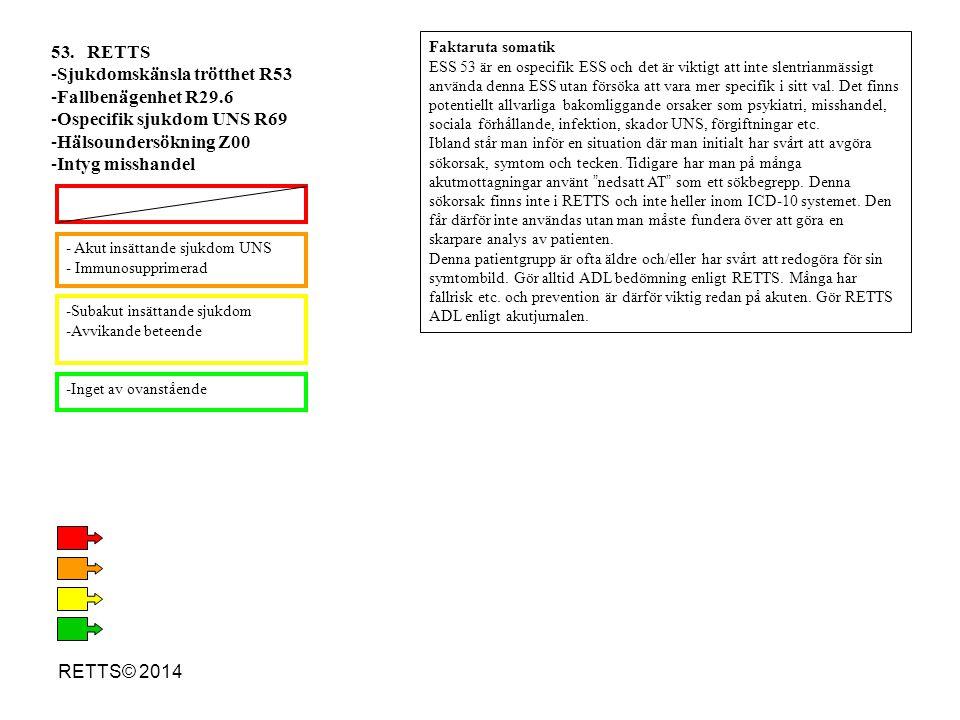 Sjukdomskänsla trötthet R53 Fallbenägenhet R29.6