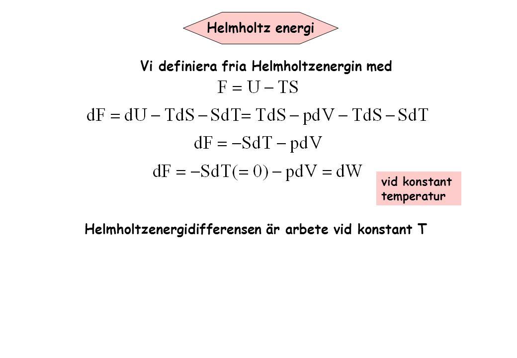 Vi definiera fria Helmholtzenergin med
