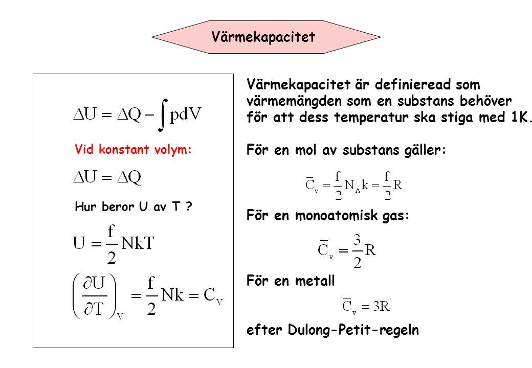 Värmekapacitet är definieread som värmemängden som en substans behöver