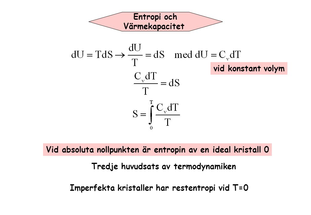 Entropi och Värmekapacitet. vid konstant volym. Vid absoluta nollpunkten är entropin av en ideal kristall 0.