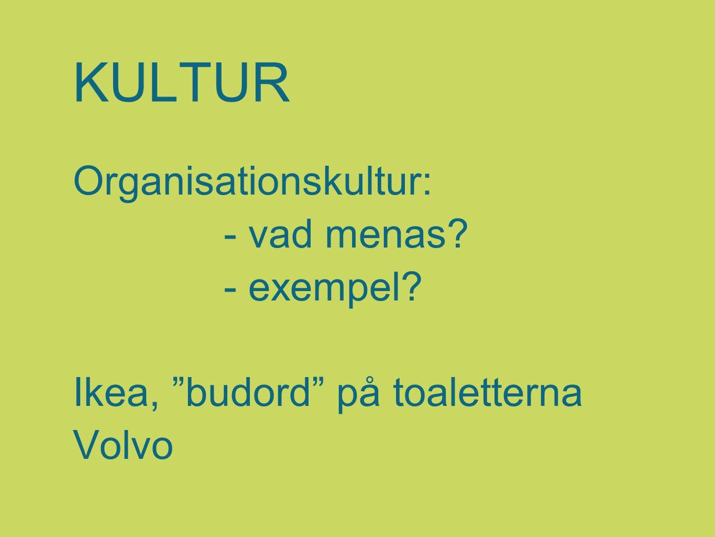 KULTUR Organisationskultur: - vad menas - exempel Ikea, budord på toaletterna Volvo