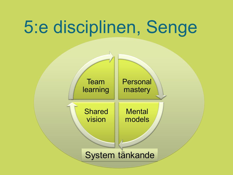 5:e disciplinen, Senge System tänkande Personal mastery Mental models