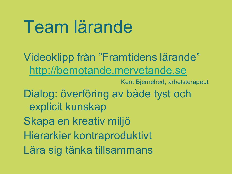 Team lärande Videoklipp från Framtidens lärande http://bemotande.mervetande.se. Kent Bjernehed, arbetsterapeut.