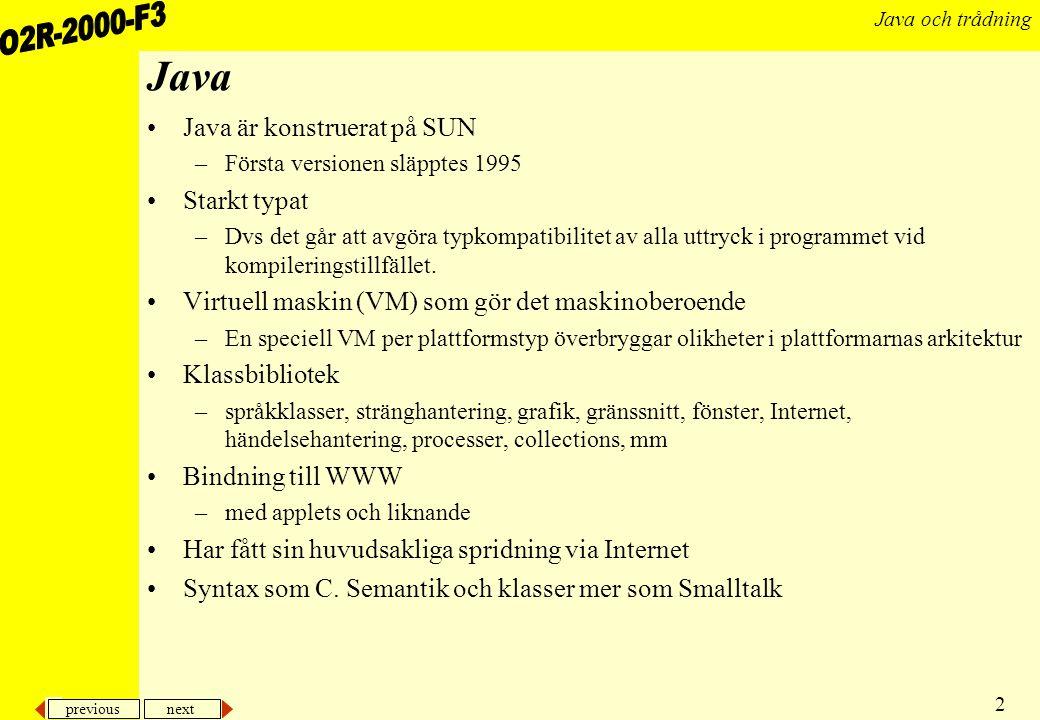 Java Java är konstruerat på SUN Starkt typat