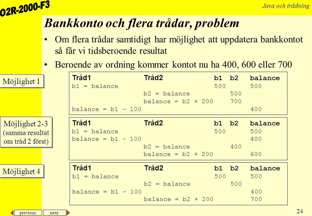 Bankkonto och flera trådar, problem