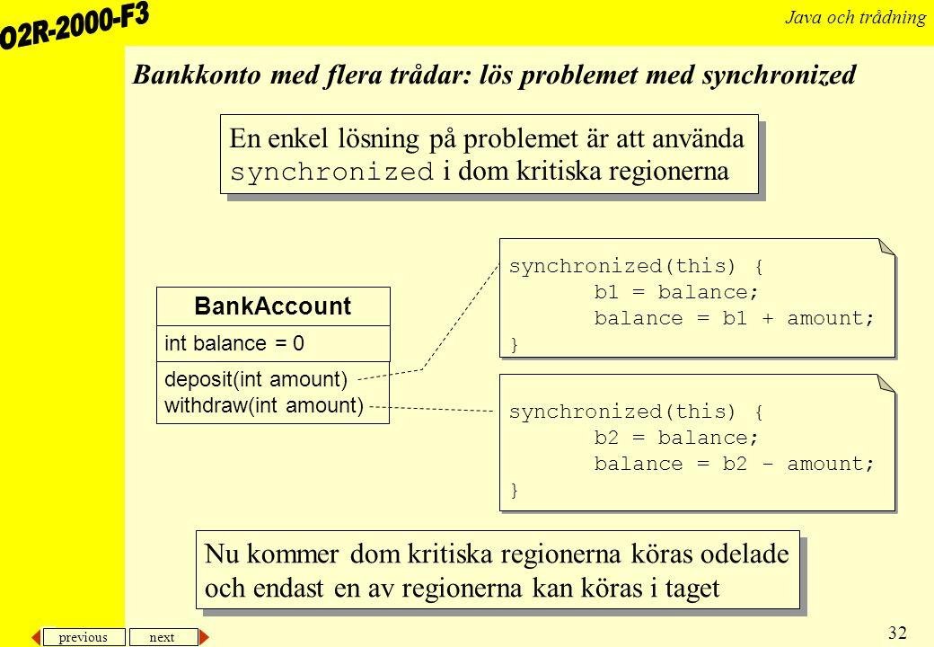 Bankkonto med flera trådar: lös problemet med synchronized