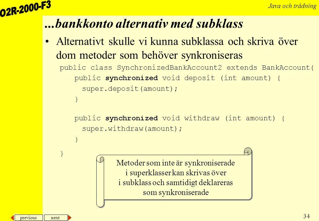 ...bankkonto alternativ med subklass