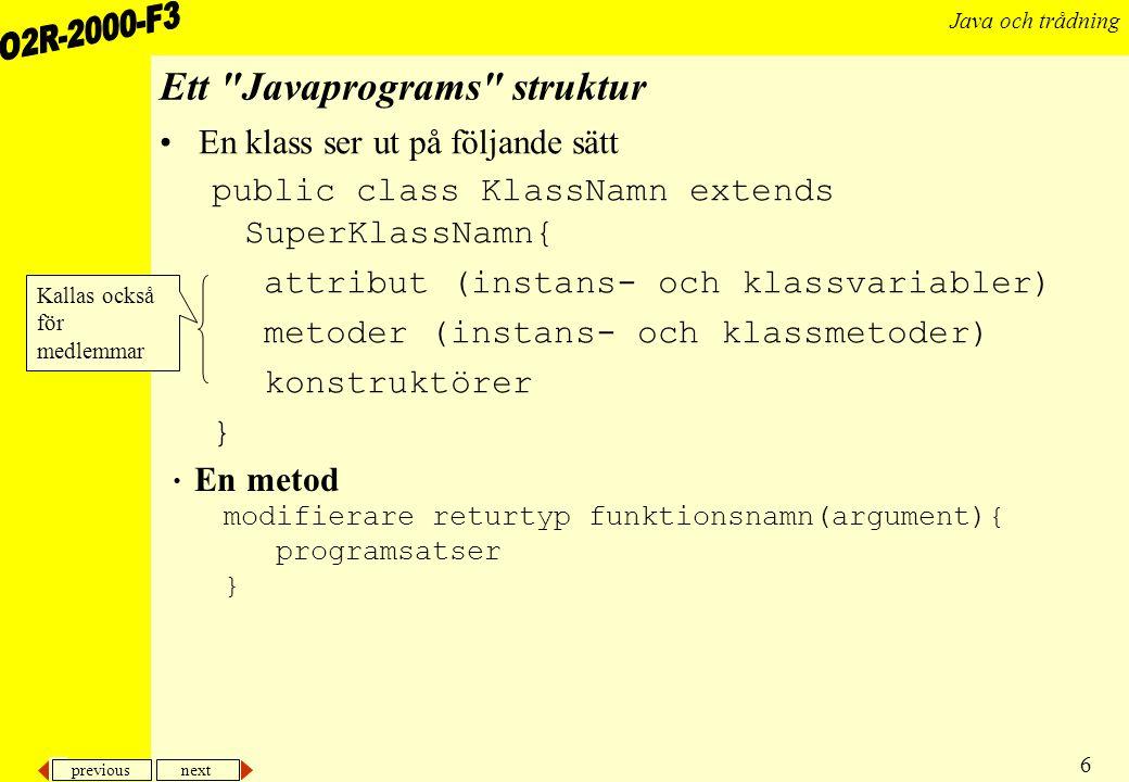 Ett Javaprograms struktur