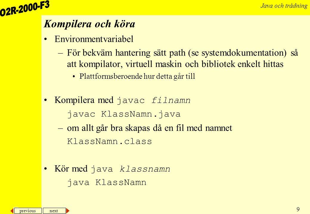 Kompilera och köra Environmentvariabel