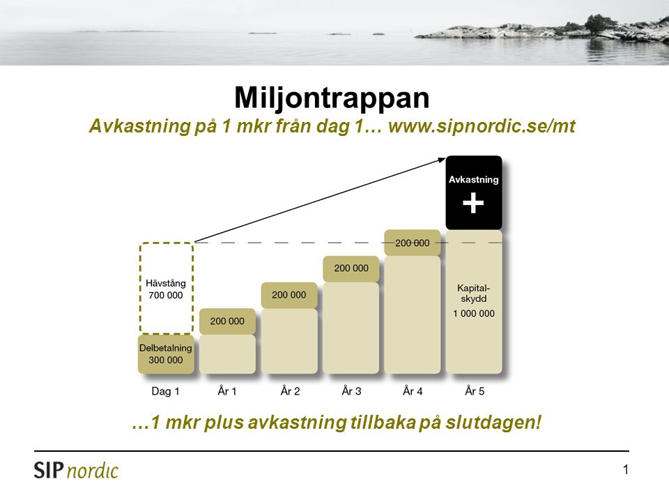 Miljontrappan Avkastning på 1 mkr från dag 1… www.sipnordic.se/mt