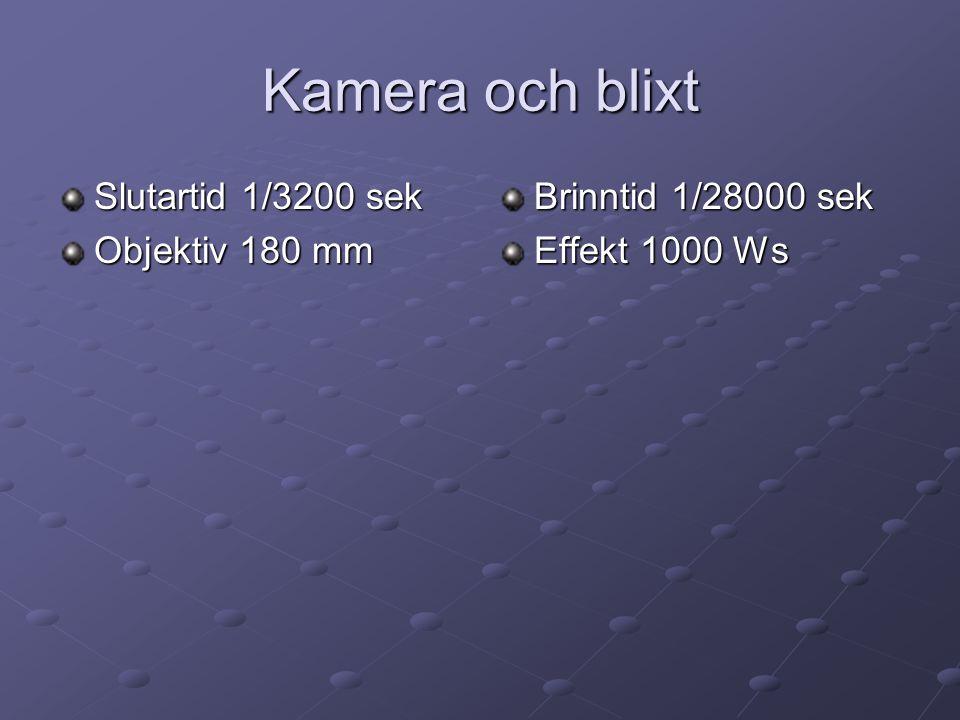 Kamera och blixt Slutartid 1/3200 sek Objektiv 180 mm