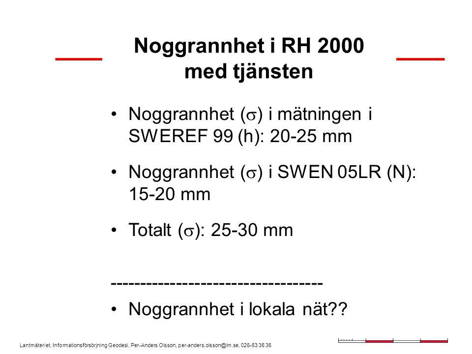 Noggrannhet i RH 2000 med tjänsten