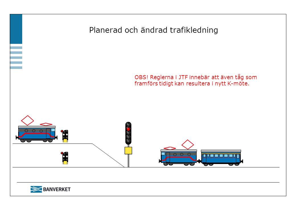 Planerad och ändrad trafikledning