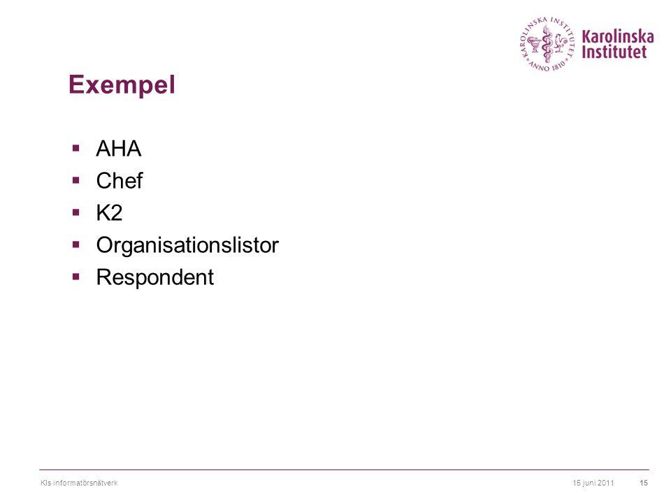 Exempel AHA Chef K2 Organisationslistor Respondent Exempel