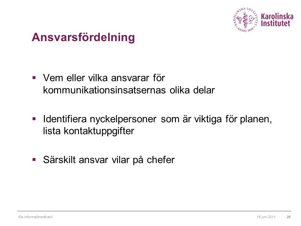 Ansvarsfördelning Vem eller vilka ansvarar för kommunikationsinsatsernas olika delar.