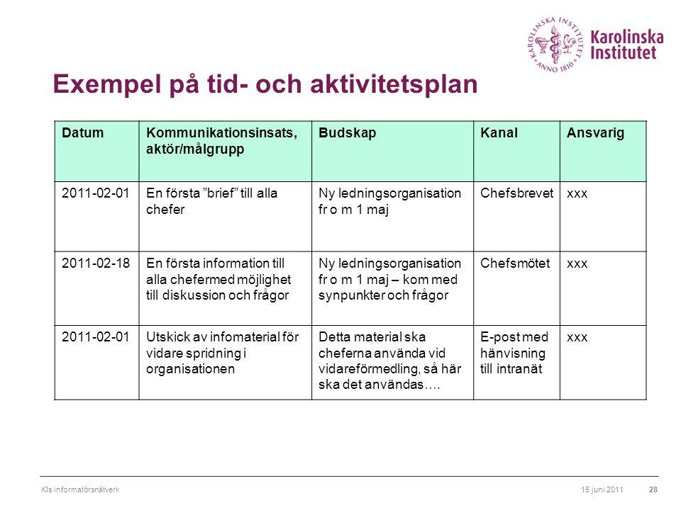 Exempel på tid- och aktivitetsplan